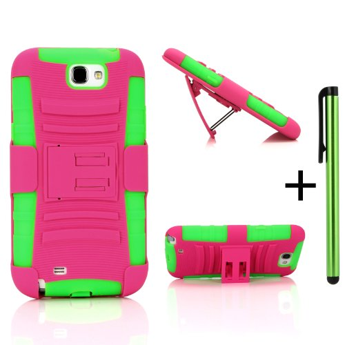 Shock and Drop Proof Dual Layer Protective Case&Holster Combo W/ Free Stylus for Verizon/AT&T/T-Mobile/Sprint/U.S Cellular Samsung Galaxy Note 2 II N7100 -Soft Silicone Inner Layer + Hard PC Outer Layer Kickstand Case+ Holster Belt Clip (Hot Pink and Green) (Note Ii Stylus compare prices)