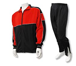 Roma youth and men\'s poly-knit athletic warmup set - size Adult L - color Red/Black