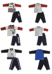 Zero Boys' Clothing Set - 3 Vests and 3 Pants (289-03-White-Navy-M, Multi-Coloured, 3-6 Months)