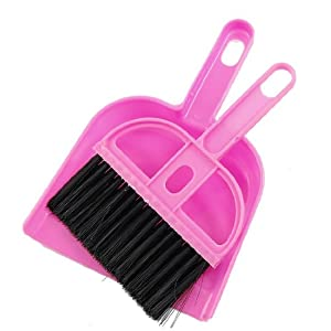 Sonline Office Home Car Cleaning Mini Whisk Broom Dustpan Set Pink Black
