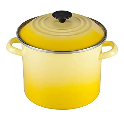 Le Creuset Enameled Steel Stock Pot with Lid, Fennel