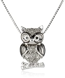 XPY Sterling Silver Black and White Diamond Owl Pendant Necklace (.09 Cttw I-J Color, I2-I3 Clarity), 18