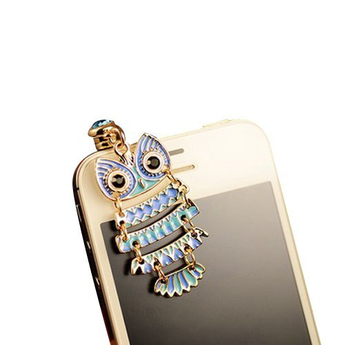 Mavis'S Diary Luxury Bling 3D Earphone Jack Accessory 3.5Mm Of Colorful Night Owl Pattern Dust Plug / Ear Jack For Iphone 3 3Gs 4 4S 5;Apple Ipad 1 2 3 4 Mini;Samsung Note 2 N7100;Samsung Galaxy S3 I9300, I8190, I8262D, S2 I9100, I9268, S5830, I9000;Samsu