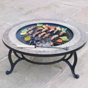 'Beacon Star' 30 inch Diam. Outdoor Coffee Table with Integral Fire Pit, Chromed BBQ Grid & Weather Cover