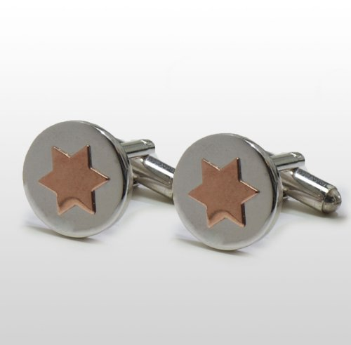 EJ Sutton Red-Gold Star of David Cuff Links