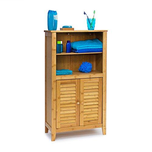 Relaxdays-10019202-Badezimmerschrank-Lamell-Bambus-HBT-92-x-50-x-25-cm-Badschrank-Tren-Schrnkchen-frs-Bad-oder-als-Telefonschrank-Badschrnkchen-mit-Regal-Ablagen-Holz-Telefontisch-natur