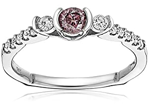 14k White Gold Pink and White Diamond Engagement Ring (1/2 Cttw, G-H Color, I1-I2 Clarity), Size 7