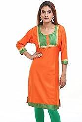 Aamii Women's Cotton Silk Kurta(Aamii768_Orange_X-Large)