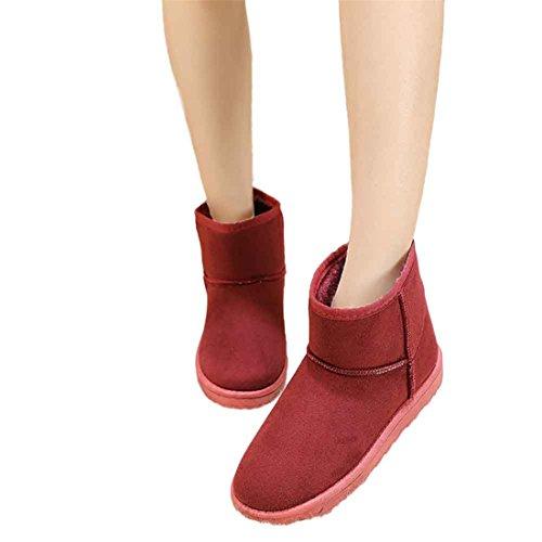 Scarpe da donna,Xinantime Moda Stivali Caviglia Piatto Inverno caldo Scarpe da neve Allacciare Scarpe (vino, 36)