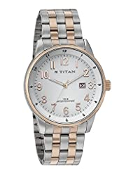 Titan White Dial Analog Watch For Men - 9441KM02J