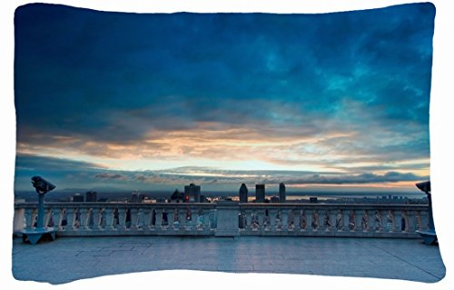 Microfiber Peach Queen Size Decorative Pillowcase -City Dalaman Turkey Observation Images Review Top View front-854832