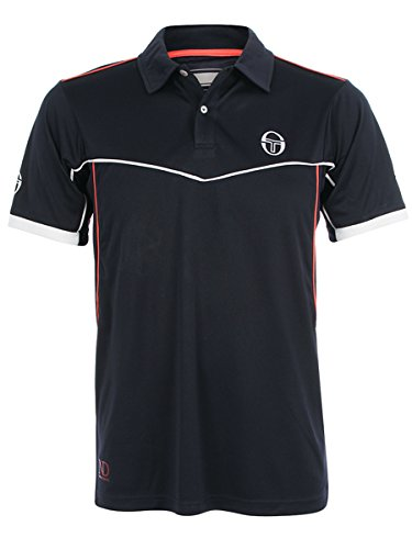 Sergio Tacchini NAX Polo Men's Novak Djokovic (nvy/coral) - Small (Sergio Tacchini Shoes compare prices)
