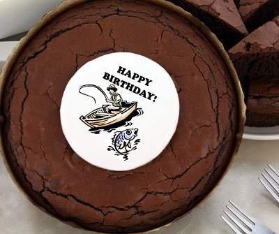 Birthday Brownie Cake - Fishing