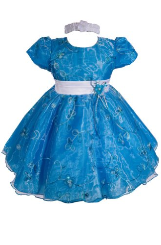 Amj Dresses Inc Baby-Girls Turquoise Flower Girl Party Dress Size 3T front-825311