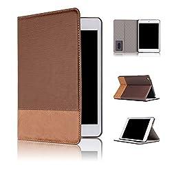 Qinda Luxury Leather Smart Flip Case cover for Apple iPad mini 4 [Sleep/Wake] (Light Brown)