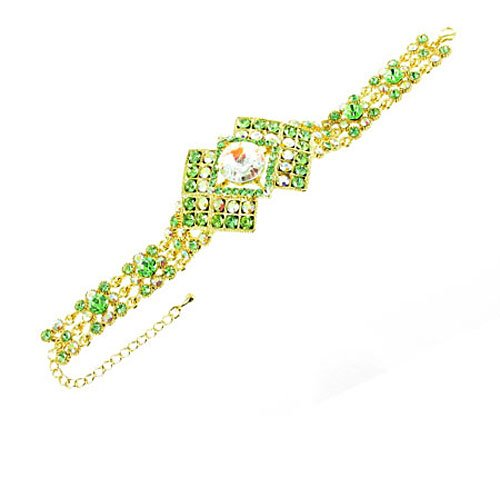 Green On Gold Plated Diamond Shaped Bracelet front-804616