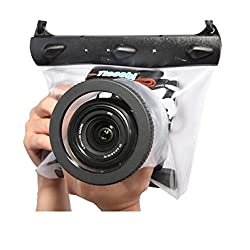 Tteoobl Dslr SLR Camera Waterproof Underwater Housing Case Pouch Dry Bag for Canon Nikon (Transparent)