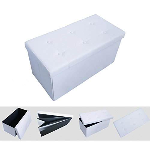 Pouf coffre de rangement pliable blanc 76x38x38cm tabouret simili cuir l ga - Pouf blanc simili cuir ...