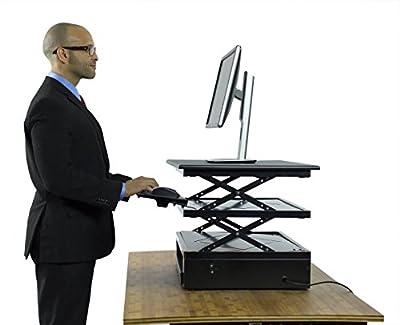 ELECTRIC CHANGEdesk - Adjustable Standing Desk Converter | Move Between Sitting & Standing in Seconds! | Ergonomic Stand Up Desk Conversion Kit for Laptops, Desktops, iMacs & 2-Monitors