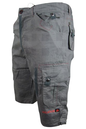 Mens Location Grey Red Cotton Cargo Shorts Size S-XXL