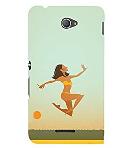 Girl at the beach 3D Hard Polycarbonate Designer Back Case Cover for Sony Xperia E4 Dual