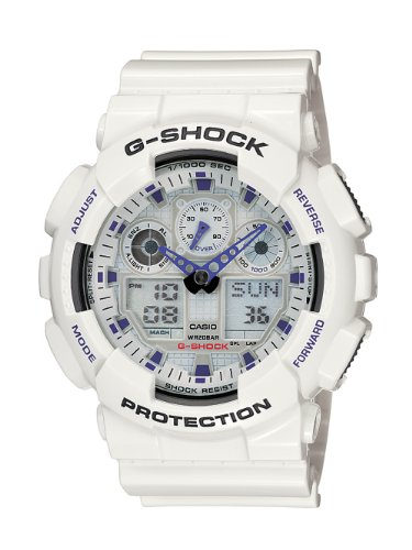 Casio Men's G-Shock GA100A-7A White Resin Quartz Watch with Digital Dial