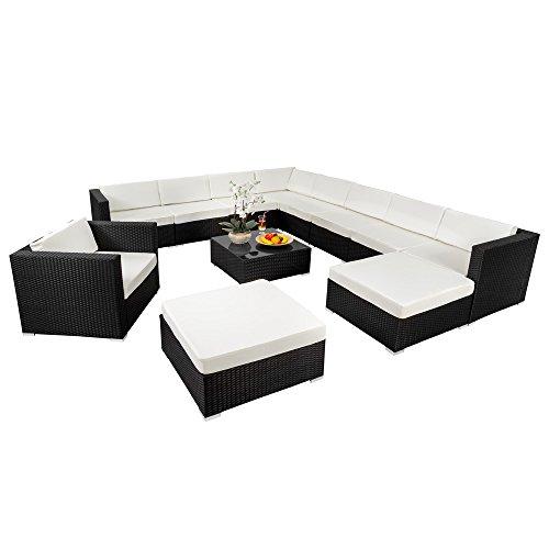 ff791929a963 TecTake XXL Aluminium luxury rattan garden furniture sofa set outdoor wicker  incl. clamp black