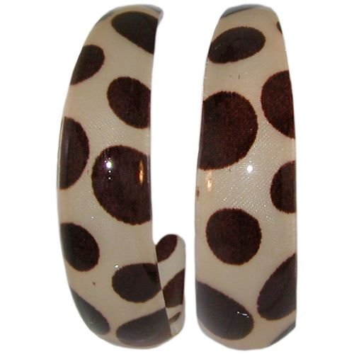 Mismatched Polka Dot C Hoop Earrings In Beige with Brown Finish