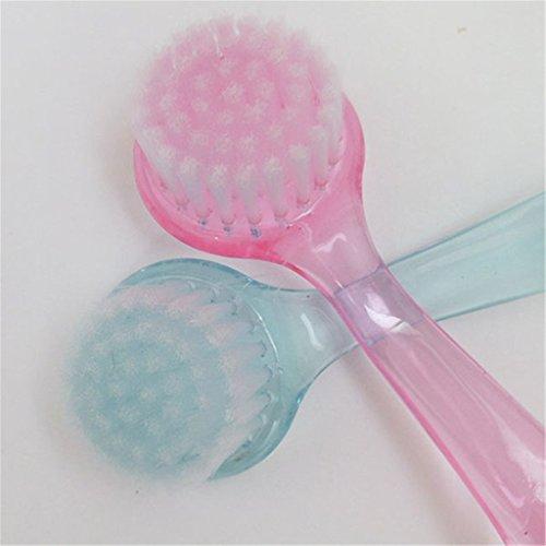 Nylon Transparent Exfoliating Gesichtsbürste mit Deckel für saubere Haut und Poren zufällige Farbe