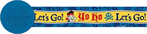 Amscan Bold Jake & The Never Land Pirates Crepe Streamer (1 Piece), Blue/Yellow, 30' - 1