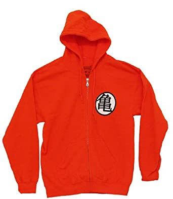 Dragonball Z - Mens Goku Symbol Zip Hoodie Small Orange