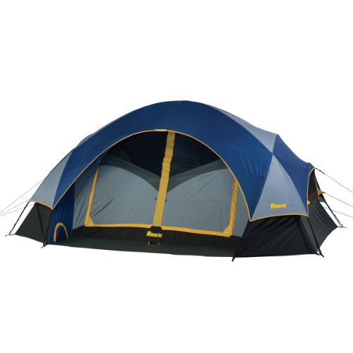 Rokk Palisade Two Room Family Dome Tent Sleeps Up To 8 (Blue/Grey)