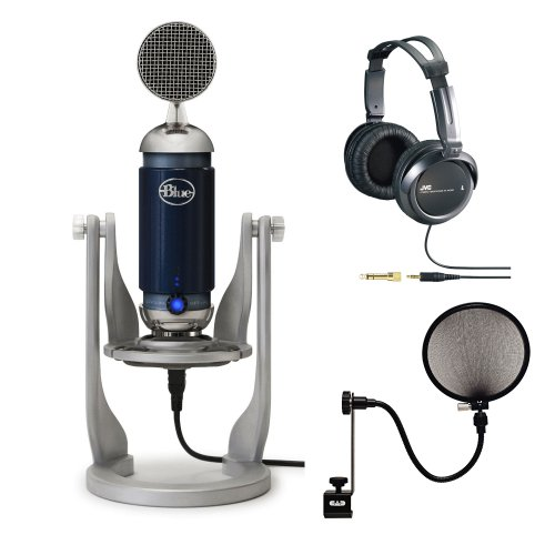 Blue Microphone Spark Digital Condenser Microphone With Lightning And Usb Connectors Bundle With Full-Size Headphones And Pop Filter