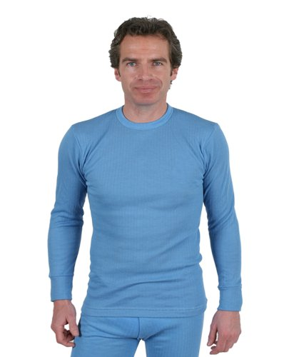 3 Pack Of Mens Thermal Underwear Round Neck Long Sleeve Vest Blue, Various Sizes