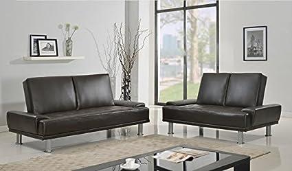 Furniture2go UFE-1408 Lorena Metallic Dark Brown Futon Sofa + Loveseat - Synthetic PU Leather