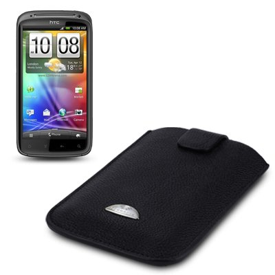 HTC SENSATION GENUINE LEATHER TERRAPIN POCKET CASE BLACK OUTER / BLUE MICROFIBER LINING PART OF THE QUBITS ACCESSORIES RANGE