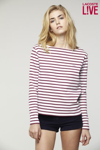 L!VE Long Sleeve Stripe Boatneck T-Shirt