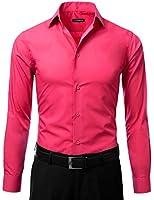 IDARBI Men's Slim Fit Color Longsleeve Dress Shirt