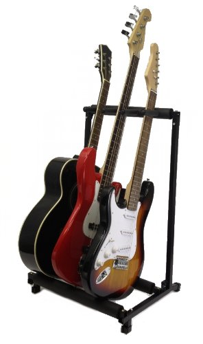 Zenison 3 Guitar Stand Multiple Three Instrument Display Rack Folding Padded Organizer