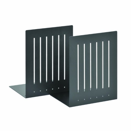 STEELMASTER Heavy Duty 8-Inch Steel Bookends, 1 Pair, Black (241080004)