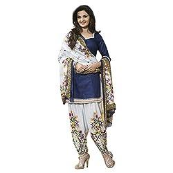 Cozer Creation Bollywood Monika White Blue Printed Salwar Suite Dress Material