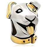 Pugster 22k Gold Silver Cute Puppy Dog Head Animal Bead Fits Pandora Charm Bracelet