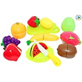 Smiles Creation Cutting Fruit Set, Plastic Play Food Kitchen Accessory Toy For Kids - Set Of 12
