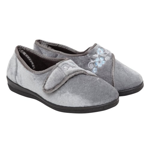 Cheap Womens/Ladies Flower Design Indoor Footwear/Slippers with Velcro Strap (B009BFQIOC)