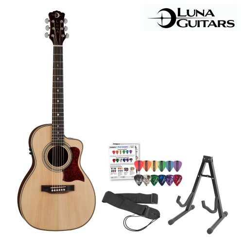 Luna Guitars Americana Parlor 100 (Amp-100Usb) Acoustic-Electric Guitar With Stand, Strap & Pick Sampler