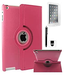 DMG Full 360 Degree Rotating Leather Cover Smart Case for Apple iPad 2/3/4 with Matte Screen, Stylus, DMG Wristband -Magenta
