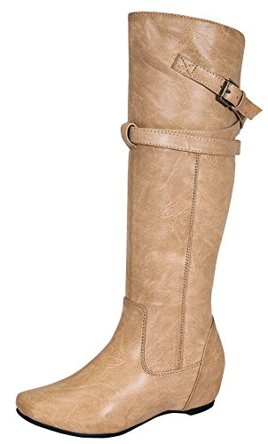 Amar-65 Women's Zipper Knee High Dressy Riding Boot with Casual Buckle Straps Nude 7.5
