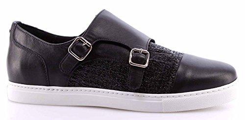 zapatos-sneakers-hombre-dsquared-tux-tessuto-nero-lucido-cuero-negro-made-italy