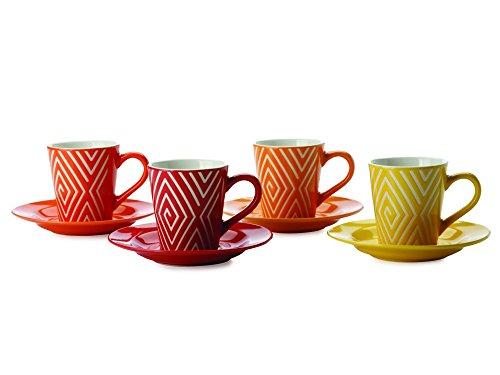 Maxwell Williams Graphique Lot de 4 tasses à expresso, soucoupes Demi &TR5005 labyrinthe
