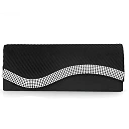 Damara Womens Pleated Satin Flap Crystal Clutch Evening Bag, Black